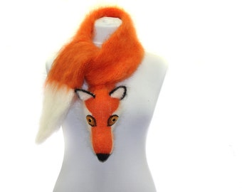Hand knit fox Scarf / Fuzzy Soft Scarf / orange white / fox scarf / scarf / animal scarf