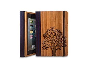 Oak Tree - Bamboo iPad mini 4 Bookcase,  iPad mini 4 case (Engraved with the design of your choice)