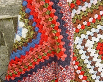 """Large Hand Crochet Blanket 66"""" x 66"""" in gorgeous colours"""