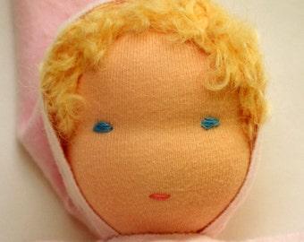 Waldorf baby doll - Pink - Handmade - Waldorf doll / Waldorf Soft doll / Waldorf inspired toddler doll - Blonde hair Blue eyes Australia