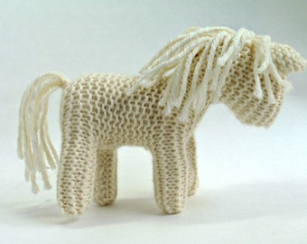 Waldorf inspired TOY HORSE - white - Traditional Waldorf knitted Horse. Horse toy stuffed animal. 100% wool. FREE Shipping Australia