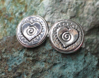 Silver Heart Pewter Cuff Links