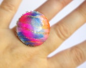 Large Pink Ring, Polymer Clay Round Ring, Bright Jewelry, Handmade Jewellery