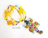 Lizard Necklace , Gecko Jewelry , Gecko Lizard Charm Necklace , Animal charm , yellow multicolor polymer clay jewelry