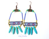 Turquoise Spike Beaded Earrings Navajo Southwestern Native american seed bead Ethnic jewelry