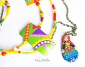 Sleeping beauty necklace / Cute Kawaii polymer clay pendant / Fairy Kei / Sweet lolita / Multicolor jewlery