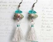 Tassel Gypsy Fringe Earrings / Boho Silver green Earrings / Textile and ceramic Jewelry