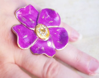 Large Purple Daisy Ring, Bronze Adjustable Band, Polymer clay cabochon, Plum jewelry, Lilac Flower, Fits all sizes, Purple with gold center