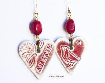 Friendship red heart earring / cute best Friend gift / Amitié quote Bird Jewelry