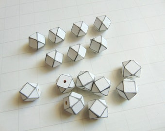 Geometric White Wood Beads 20mm Big Hole, Geometric Jewelry