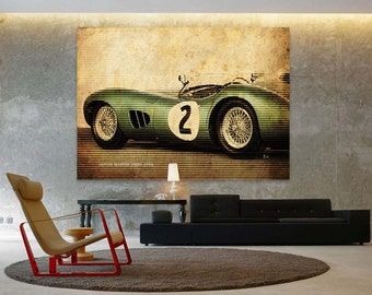 Aston Martin DBR1 1956 Classic Car Poster, Vintage Background Line Art Print, Art Print 10x14in and larger sizes, Motorcycle print