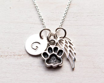 Pet Memorial Necklace, Paw Print Necklace, Pet Loss, Dog, Cat, Pet Memorial Jewelry, In Memory, Sympathy Gift, Personalized, Sterling Silver