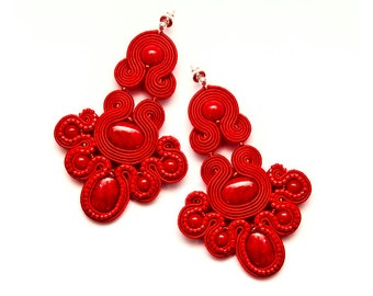 Red chandelier earrings, soutache jewellery. Red beading large earrings, unique. Statement earrings red soutache. Red gypsy earrings.
