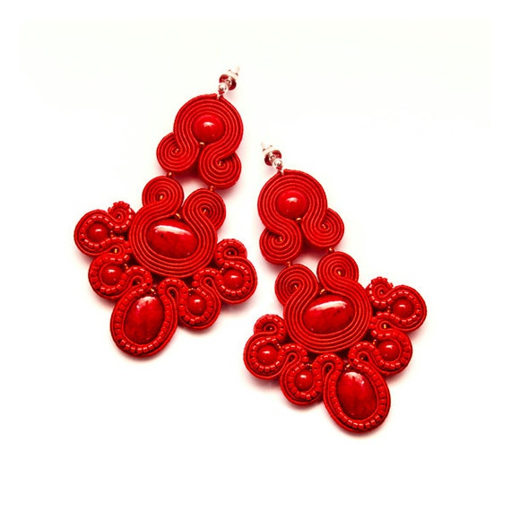 Red Chandelier Earrings: Red Chandelier Earrings Soutache Jewellery. Red Beading Large