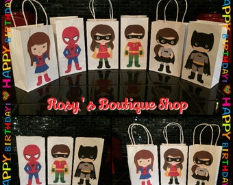 Superhero birthday party favor bags, Birthday favor bags, Bolsas de superheroes para fiestas