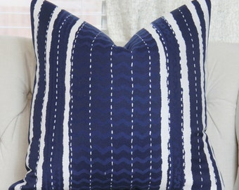 Blue White Indigo Designer Pillow - Blue Modern Pillow - Dark Blue Decorative Pillow - Blue Stripe Zig Zag Pillow Cover - Motif Pillows