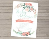 Print-yourself Floral Baby Shower Invitation - Boy or Girl