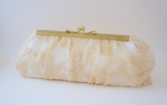 Gorgeous Ivory & Champagne Lace Bridal Clutch - Wedding Handbag - Evening Bag -Includes Crossbody Chain - Custom Clutch - Made to Order