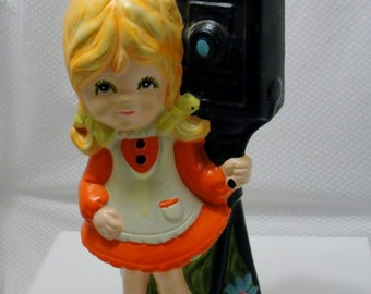 1960s Coin Bank Girl with Camera Coin Bank Bright Colors Chalkware