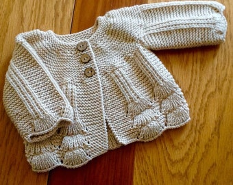 Baby cardigan. Hand knitted cream baby sweater. Antique cream baby jacket.Dark cream baby cardigan. Made to order.