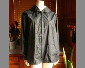 Vintage 80s 90s Clipper Mist by London Fog Black Reflective Raincoat L womens