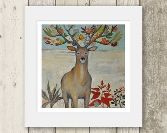 Deer print / HEAD TRIP / Limited edition Mounted Giclee Print - Signed & numbered. / Stag antlers flowers