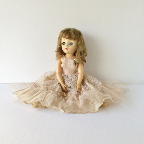 Vintage 18 Sleep Eye Doll In Fancy Gown 1950s Blue Eyed
