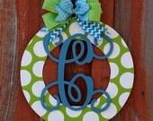 Initial Door Wreath Wood Wreath Home Decor Wedding Gift Birthday Gift Wall Decor Front Door Hanger
