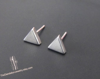 Small Triangle Stud Earrings, Triangle Earrings, Sterling Silver Earrings, Studs, Jewelry, Gift, Minimalist Earrings