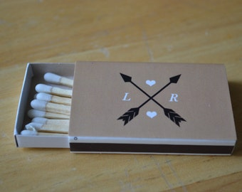 50 Custom Designed Matchbox Wedding Favors - Hearts & Arrows
