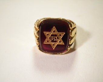 1 Goldplated Ruby Red Star of David Ring