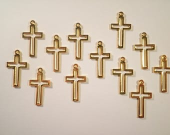 12 Goldplated 24mm Cross Charms Pendants