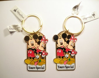 2 Goldplated Disney Mickey,  Mini Mouse and Pluto Key Rings