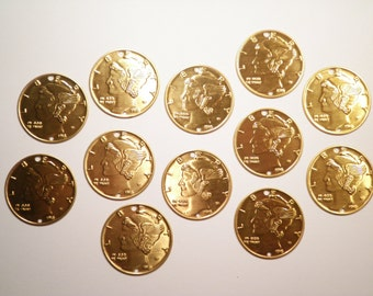 12 Brass Liberty Dollar Charms
