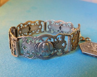 Vintage french  Religious bracelet Souvenir Lourdes filigree panels charm Antique Old jewelry fv1