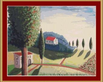 Tuscan Landscape Cross Stitch Pattern
