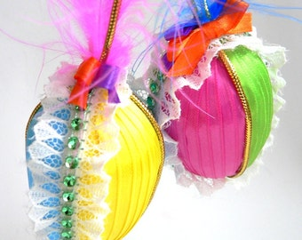 NOW 50% OFF!! 2 Easter Eggs Ribbon Wrapped Egg Ornament Egg Easter Basket Filler Easter Decor Multi Color