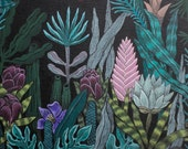 Eden no.2, original painting acrylic on canvas, exotic botanical floral painting