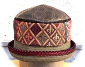 Leather top Tapestry Patchwork Band Cotton Rim Hat Small Aubery design