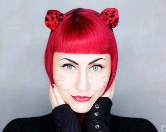 Hair Circlet *Red Leopard* -  Fascinator   Shooting Accessory
