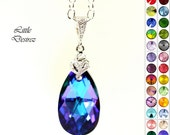 Purple Necklace Swarovski Crystal Heliotrope Pendant Teardrop Bridesmaid Gift Royal Blue Dark Blue Sterling Silver CZ Cubic Zirconia HE32N