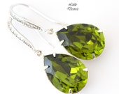 Olive Green Earrings Olivine Swarovski Teardrop Earrings Bridal Earrings Bridesmaid Gift Silver Earrings Sparkly Bridal Party Jewelry OG31H