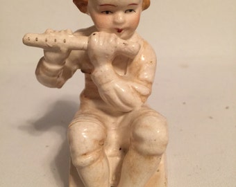 Little Boy with Flute Figurine made in Japan