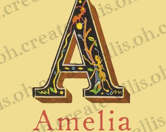 Vintage Alphabet Letter Personalized with name