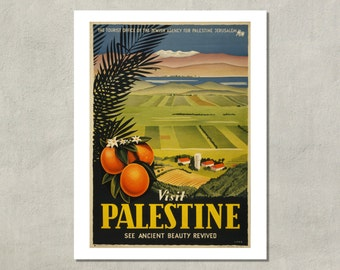 Visit Palestine Travel Poster - 8.5 x 11 Print -  also available in 11x14 and 13x19 - see listing details