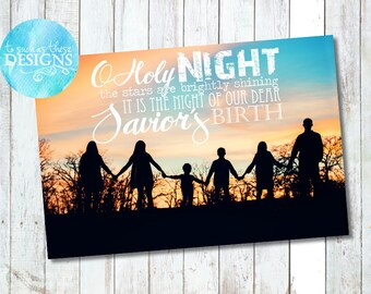 Christmas Overlay card, Digital Christmas Card, Photo Christmas Card, Printable Holiday Card, Print Your Own, Oh Holy Night