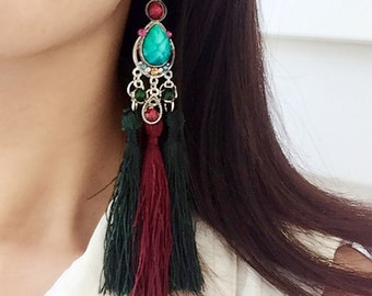 Tassel Earrings Large Statement Earrings Long Fringe Earrings Extra Long Earrings Boho Earrings.
