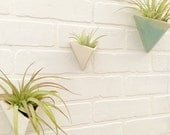 Pyramid Wall Planter Porcelain Geometric Minimal Wall Container MADE TO ORDER In yourFavorite Color