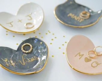 Personalized Heart Jewelry Dish 22k Gold Name Dish For Jewelry or Anything Else MADE TO ORDER