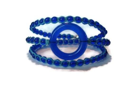 Blue Wine Bottle Charm Beaded Wrap Bracelet